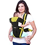 LuvLap Elegant Baby Carrier with 4 Carry Positions, for 6 to 36 Months Baby, Max Weight Up to 15 Kgs (Black & Green)