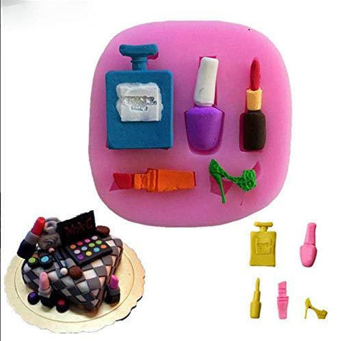 henform Parfüm nagellack Hochzeitsdekoration DIY Kosmetische Form Silikonform Kuchen Schokoladenform 7.7 * 7.5 * 1.2 cm (Farbe) ()