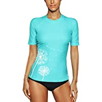 Attraco Damen Schwimmshirt Kurzarm UV Shirt Rash Guard Badeshirt UPF 50+