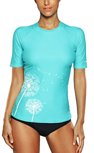 Attraco Damen Badeanzug Rash Guard UV Schutz Shirts Kurzarm Surf Shirt UPF 50+ Türkis S