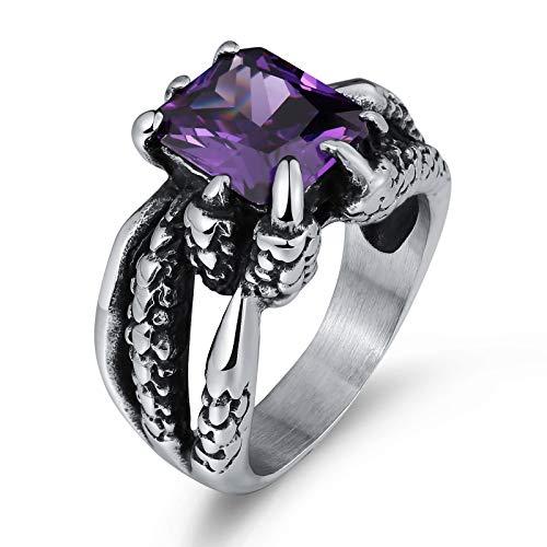 Knsam anello da uomo anello in acciaio inox pietra preziosa viola  dimensione 25 9edb3ff04b8