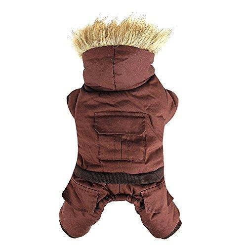 XUJW-PET, Haustier Kleidung Hoodie Hund Wintermantel warme Jacke für kleine oder mittlere Haustier ( Color : Brown , Size : M )