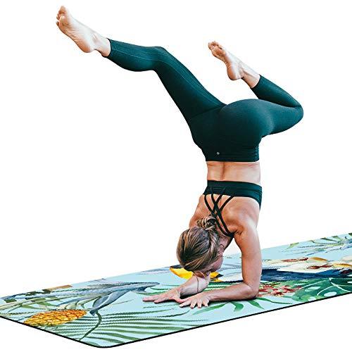 zhcheng Qualität Yoga-Matte Naturkautschuk Yoga-Matten weibliche tragbare Falten Pilates Decken Wildleder Druck professionelle Yoga rutschfest, geschmacklos, faltbar-schwarz