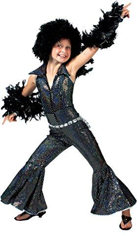 Generique - Schwarzes und gläzendes Disco Kostüm für Mädchen 152 (12-14 Jahre)