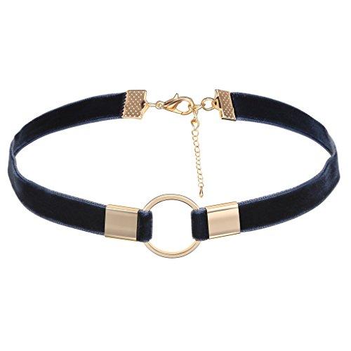 Epinki Damen Choker, Halskette Samtband O-Ringe Form Anhänger Tattoo Samtkropfband Gothic Halsband 32.8+7.5CM Gold Blau