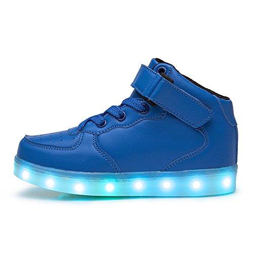 DoGeek Scarpe Led Bambino Scarpe Con Luci Luminosi Sneakers Con Luce Nella Suola Bright Tennis Scarpe Ali USB 7 Colori Lampeggiante Trainners Blue