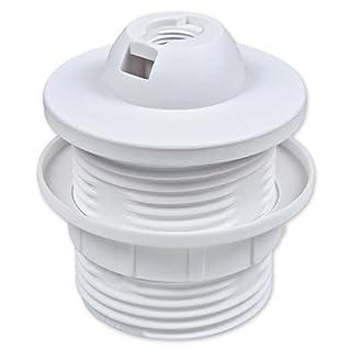E27 Lampenfassung Kunststoff (PBT), Gewindefassung mit festem Lampenschirmkragen und Einbauring Weiß (RAL 9003)