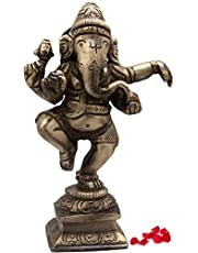 Two Moustaches Brass Dancing Ganesha Idol Home Decor