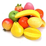 FASHION HUB BRAND Artificial Plastic Realistic Looking Mixed Fruits Simulation Plastic Decorative Fruits Display Creative Home Decor, Teaching, Photography Props (12), Diwali Gift Items Home, Kitchen
