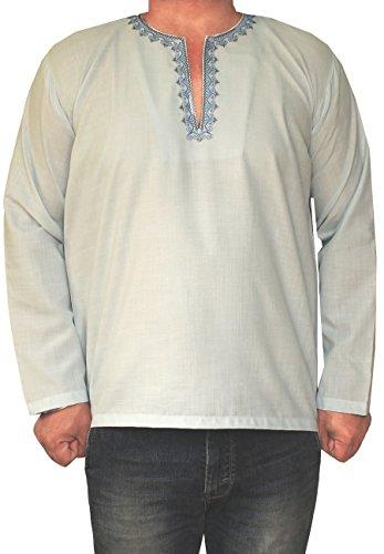MapleClothing Maple Clothing Hemd Gesticktes Männer Kurz Kurta Cotton Mode Indien Bekleidung Himmelblau