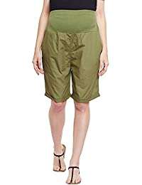 Oxolloxo Solid Khaki Maternity Shorts