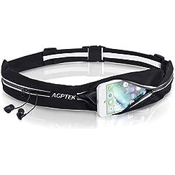 AGPTEK Cinturón con Bandas Reflectantes para Correr, Riñonera Cinturón Deportivo Impermeable con 2 Bolsillos para Móvil iPhone para Fitness Viaje o Deportes al Aire Libre, Negro