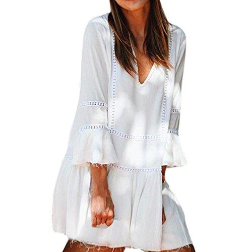 Damen Kleid Internet Lose Sommer Chiffon Gallus V Neck Langarm Kleid Strand Mini Kleid (XL, Weiß) (Blazer Strand)