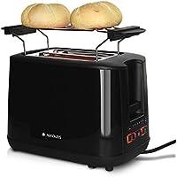 Navaris Tostapane Doppio per 2 Fette Pane Toast - in Metallo 1000W - Toaster Automatico con 2 Fessure Extra Large 6 Livelli di Riscaldamento - Nero