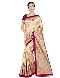 Oomph! Women's Art Silk Sarees Party Wear/Printed Art Silk Sarees - Buttermilk Beige