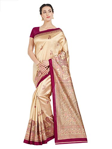 OOMPH! Art Silk Saree With Blouse Piece (rbks_koyal022_pink_Buttermilk Beige_Free Size)