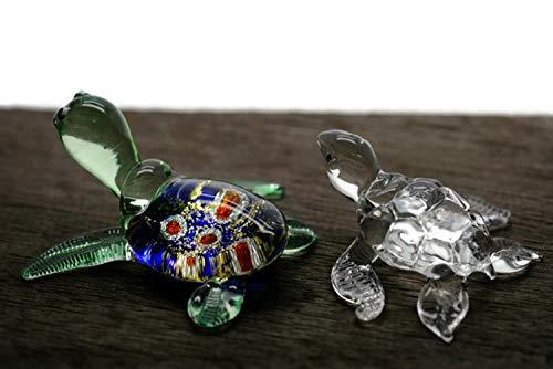 ChangThai Design 2 Stück Aquarium Kristall Blau Schildkröte Handschale Glas Puppenhaus Miniatur-Dekoration -