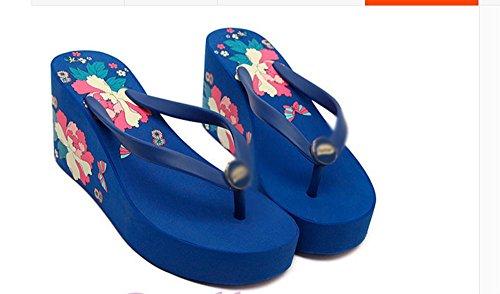 SCLOTHS Tongs Femme Chaussures Tongs summer Pente avec à fond épais station Couleur Bleu