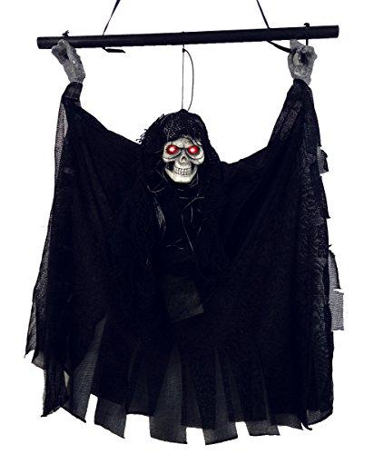 Mangotree Halloween Skelett Hänge Deko Hängedekoration Totenkopf Gruselige Befehl Stimme Grusel Sensenmann für KTV Bar Haunted House (One size, Schwarz)