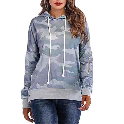 VECDY Damen Tops Mode Frauen Bluse Lässige Camouflage Sweatshirt Langarm Kapuzenpullover Tops Mode Oberteile