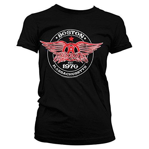 Offizielles Lizenzprodukt Aerosmith - Est. 1970 Boston Damen T-Shirt (Schwarz), Medium (T-shirt Damen Aerosmith)