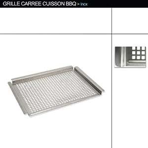Grille de cuisson pour barbecue - Inox - 45,5 x 33 x 2 cm