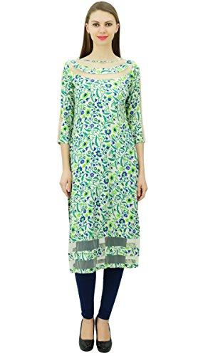 Phagun Frauen Designer Tunika Indian Ethnic Floral Kurta Rayon Net Kurti Grün Und Blau