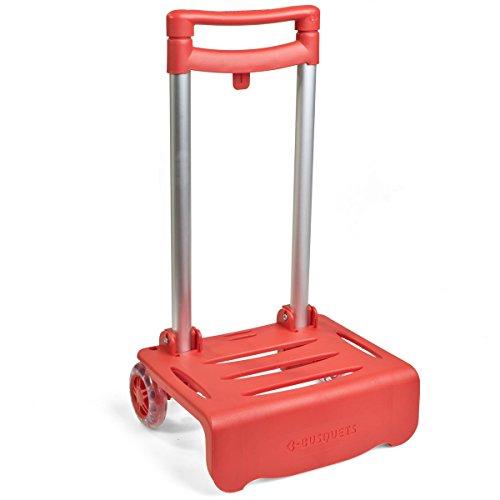 BUSQUETS, Carro Portamochilas Plegable, color rojo