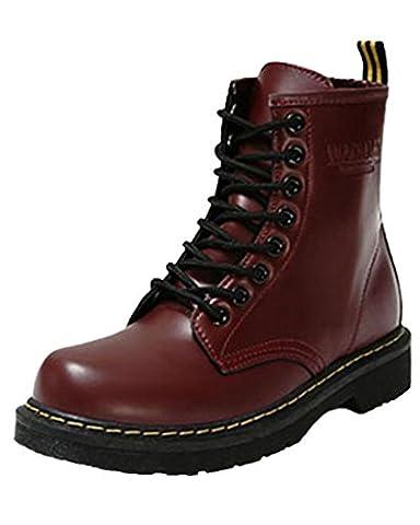 Minetom Damen Herbst Winter Schnür Stiefeletten Bootsschuhe Schlupfstiefel Wasserdicht Flache Schuhe Trendy Weinrot EU 37
