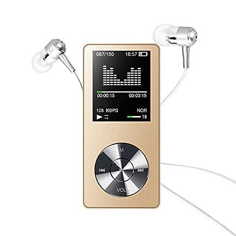 MP3 Player, Elinker 8GB Metall MP3 MP4 Player mit Eingebautem Lautsprecher, 80 Stunden Wiedergabe 1,8 Zoll Anzeige Musik Player, FM Radio, Video, E-Book Unterstützen Erweiterbar bis zu 128 GB