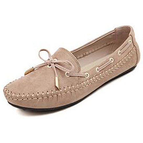 SUNAVY Damen Schmetterling Mokassins Ballerinas,2017 New Mädchen Komfortable Bow Loafers Slippers Halbschuhe Flach Fahren Schuhe(EU 34--EU 43) Beige