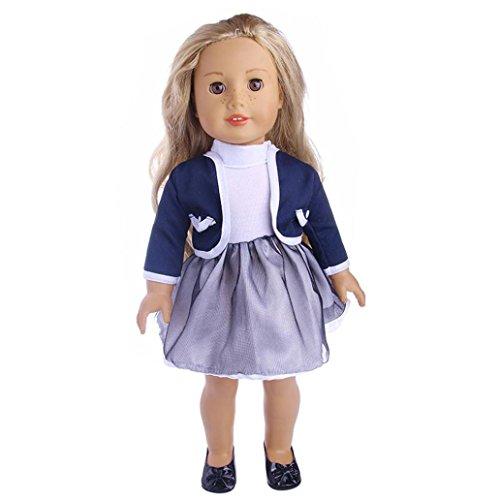 Puppen Kleidung , YUYOUG Niedliches gefaltetes Kleid mit Jacke für 18 Zoll unsere Generation American Girl Doll und andere 43-46 cm puppen