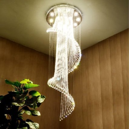 Saint Mossi® Luxury Modern Contemporary Chic Transparent Clear Crystal Chandelier Rain Drop Ceiling Pendant Light Fixture in Chrome Finish 7*3W GU10 LED Bulb