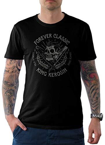 King Kerosin Herren T-Shirt Schwarz Skull Edition 15-Forever Oldschool L (T-shirt Schwarz Forever Choppers)