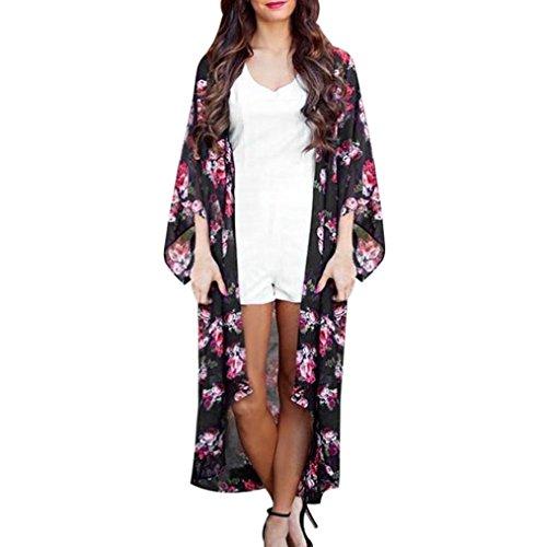 Ronamick Blumen Öffnen Damen Cardigan Kap Lässig Mantel Lose Frauen Strickmantel Bluse Kimono Jacke Strickjacke ()