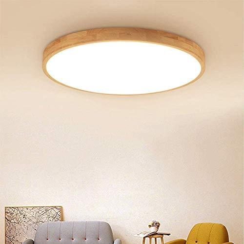 Deckenleuchte LED Dimmbar mit Fernbedienung Moderne Deckenbeleuchtung Holz Acryl Runde Design Deckenlampe für Flur Bad Schlafzimmer Wohnzimmer 20W 1400lm Ø40CM