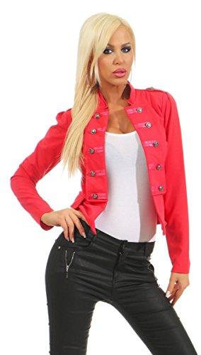 10218 Fashion4Young Damen Kurzjacke Blazer Jäckchen Jacke Army-Look Military-Style Stehkragen (coral, S/M=34/36) (Für Style Jacken Frauen Military)