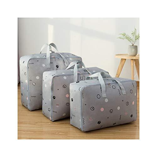 KenFandy 3Pcs / Set Aufbewahrungstasche OxFabric bewegen Gepäcktasche wasserdichte Wandschrank-Organisator-Aufbewahrungsbehälter ML XL Kleidung Lagercontainer, graue Kreise 3tlg -