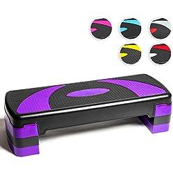 PRISP Step para Fitness 78 cm; Ajustable en 3 Alturas (10/15/20cm); Stepper Aerobic para su Gimnasio en casa; 78 x 28 cm