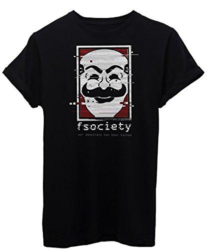 T-Shirt F SOCIETY MR ROBOT - SERIE TV - by SPIKE GRAPHIX Nera