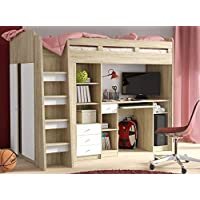 Brand New Kids Children Bedroom Bunk Bed UNIT with a Wardrobe and Computer Desk sold by Arthauss