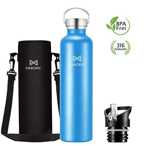 OMORC Trinkflasche Edelstahl, 1L BPA Frei Thermosflasche 14 Std Warmhalten & 28 Std Kühlen Trinkflasche, Auslaufsicher Wasserflasche Vakuum Isolierflasche mit Strohhalm, 2 Austauschbare Stecker
