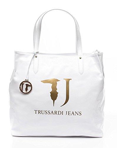 TRUSSARDI JEANS BORSA SHOPPING BAG IN VERNICE COLLEZIONE 2016 (Bianco)
