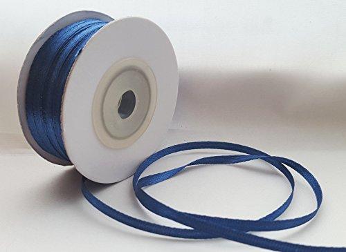 1 Rolle Doppelseitiges Geschenkband aus Satin, Navy Blau, erhältlich in 3 mm, 10 mm, 16 mm, Breite 25 mm, blau, 3mm x 50M -