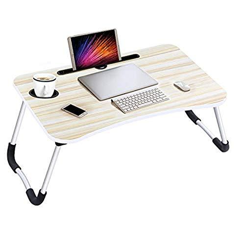 chreibtisch, tragbarer zusammenklappbarer Laptop-Schreibtisch mit Getränkehalter zum Schreiben, Essen, ergonomisches Design, für Schlafsofa, Couch, Teppichboden ()