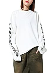 ELLAZHU Femme Basic Style Col-Rond Extra Longue Manche Lettre Tricot Sweatshirt GY991