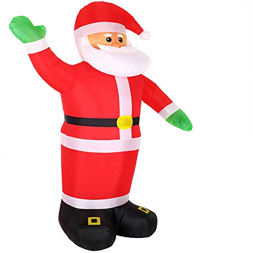 Monzana Aufblasbarer Weihnachtsmann XXL 250cm LED beleuchtet inkl. Befestigungsmaterial Weihnachtsdekoration Nikolaus Santa