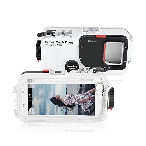 VBESTLIFE Unterwasser Handy Hülle für Tauchen,130ft Telefon Fall Wasserdicht Tauchen Telefon Fall Telefon Objektiv Schutz Shell für Android Phone(Weiß)