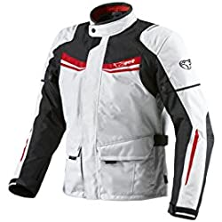 JET Chaqueta Moto Hombre Textil Impermeable con Armadura Aquatex (M (EU 48-50), Blanco Rojo)
