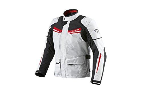 JET Giacca Giubbotto Moto Uomo Impermiabile Con l'armatura Tessile Aquatex (4XL (EU 58-60), Bianco Rosso)
